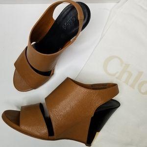 Chloe Gold Trimmed Leather Slingback Wedge Sandal
